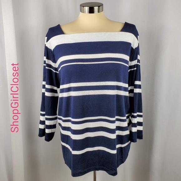 🆕️ Chaps B/W Striped 3/4 Sleeve - 100% Cotton Top